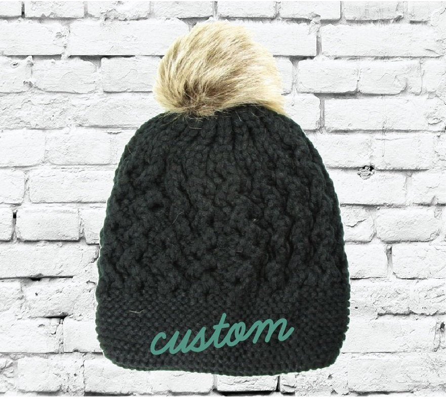 9b03ee1b2ffca Custom Pom Pom Beanies Black Small Cable and Brioche Knit Hats Monogram Hats  Custom Embroidery Hats