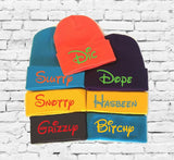 Parody Gag Gift Seven Dwarf Hats Custom Embroidery Beanie Dwarf Hat Your Color Choice