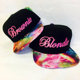 Blondie and Brownie Galaxy Snapback Hats Cursive Lettering Blonde and Brunette Hats Best Friend Snapbacks Flatbill Hats