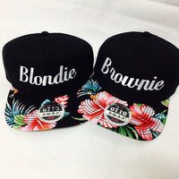 Blondie and Brownie Hawaiian Snapback Hats Cursive Lettering Blonde and Brunette Hats Best Friend Snapbacks Flatbill Hats