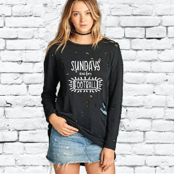 Sundays are for Football Distressed Ripped Sweatshirt Long Oversize Top Womens Sweatshirt Long Sleeve Pullover Sweater