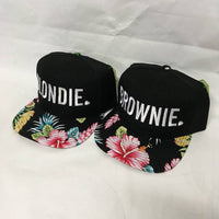 Blondie and Brownie Hawaiian Snapback Hats Block & Heart Lettering Blonde and Brunette Hats Best Friend Snapbacks Flatbill Hats Couple Pair