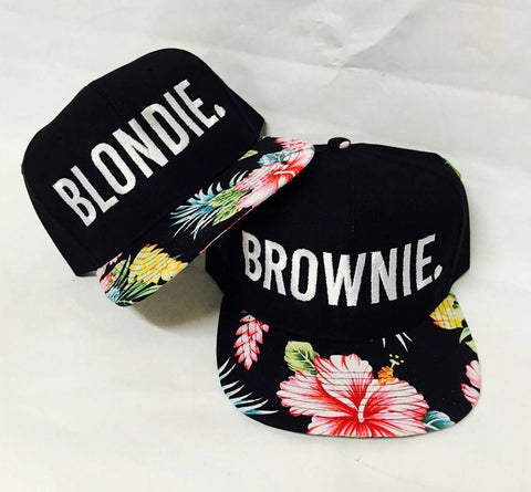 b2c7cd6d8131c Blondie and Brownie Hawaiian Snapback Hats Block   Heart Lettering Blonde  and Brunette Hats Best Friend