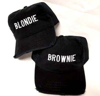 Blondie and Brownie Dad Hats Blonde and Brunette Couples Best Friends Distressed Dad Hat Couple Pair