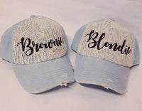 Blondie and Brownie Hats Blonde and Brunette Best Friends Denim and Lace Dad Hat Pair Couple