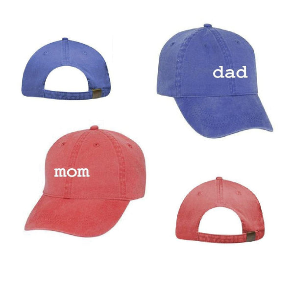 Mom & Dad Unstructured Dad Hat Gift or Baby Announcement Light Pink Navy and White or Your Color Choice