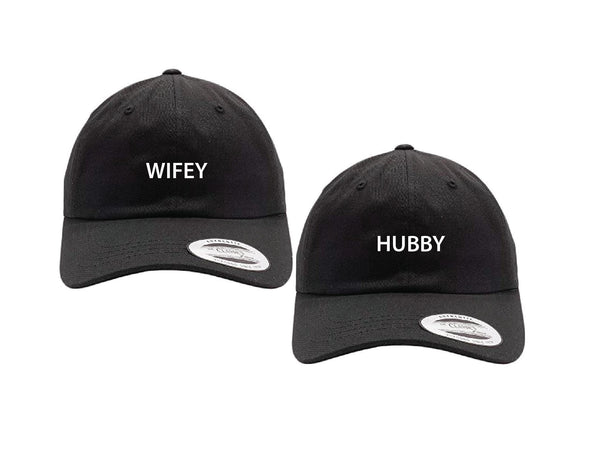 Hubby and Wifey Dad Hats Couple Hats Wedding Newlyweds Honeymoon Wash Cotton Dad Hat