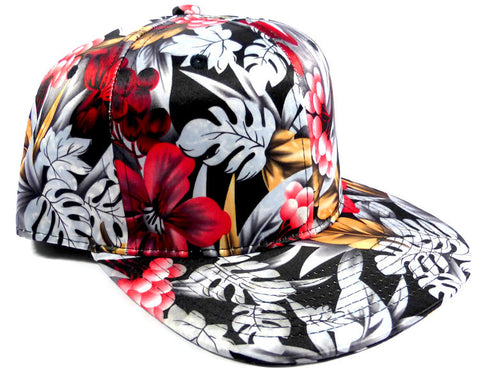 Custom Embroidery Snapback Hawaiian Floral Solid Hat Red Grey Scale Hat Personalized Snapback
