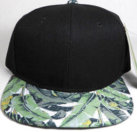 Custom Embroidery Snapback Palm Tree Hawaiian Floral Solid Hat Black Hat With palm Brim Personalized Snapback