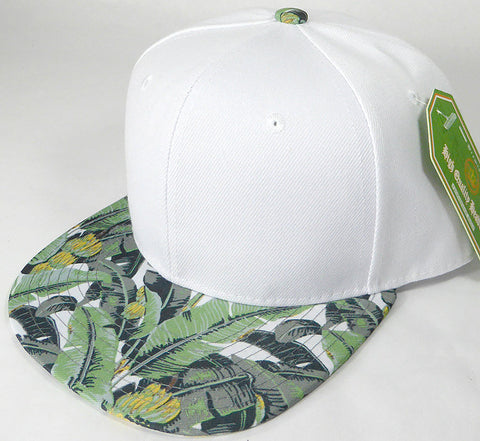 Custom Embroidery Snapback Palm Tree Hawaiian Floral Solid Hat White Hat With palm Brim Personalized Snapback