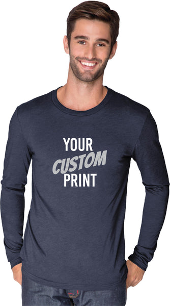 Custom Men's Crew Neck T-shirt Custom Shirt Custom Personalized Tri blend Long Sleeve