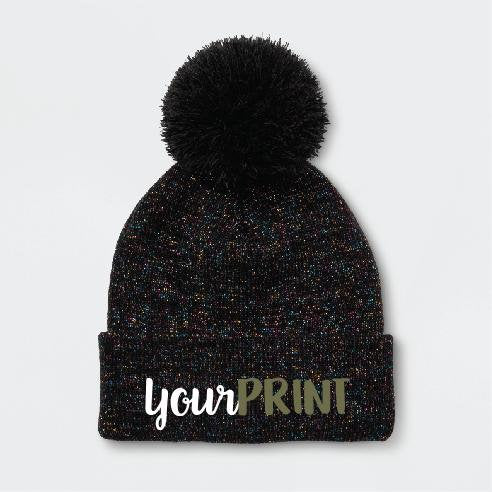 Youth Custom Print Beanie Childs Monogram Pom Pom Beanie