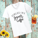 Fueled by Jesus and Coffee Print Women's V-Neck T-shirt Snowflake Christmas Shirt Custom Personalized Fitted Tee
