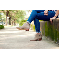 Custom Monogrammed Women's Shoes Taupe Hudson Short Boots Custom Ladies Shoes Monogrammed Casual Comfortable Shoes
