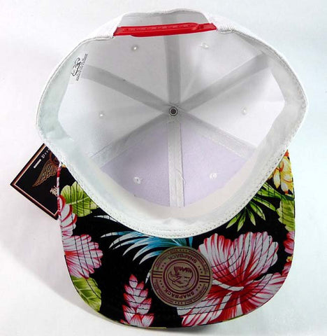 8252f541f6d Custom Embroidery Hawaiian Snapback White and Floral Brim Hawaiian Hat White  Cap with Multicolor Brim
