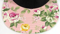 Custom Embroidery Floral Snapback Pink Rose Flower Brim Floral Hat Black Cap with Multicolor Brim