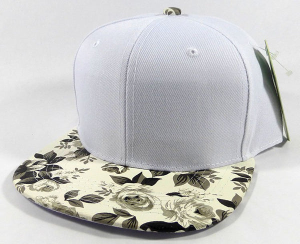Custom Embroidery Floral Snapback White Rose Flower Brim Floral Hat Black & White Cap