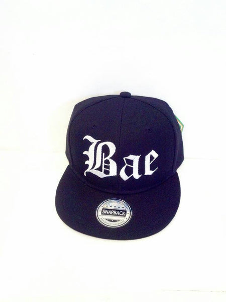 Bae Embroidery Snapback Hat White Lettering Snapback Black Cap with Bae Print Personalized Hat