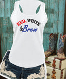Red, White and Brew Women's Racerback Gathered Back Tank Custom Tank Top Custom Personalized Fitted Tank