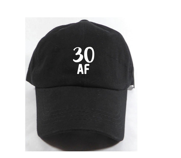 30 Af Unstructured Dad Hat Any Age Birthday Hat Light Pink, Navy and White or Your Color Choice