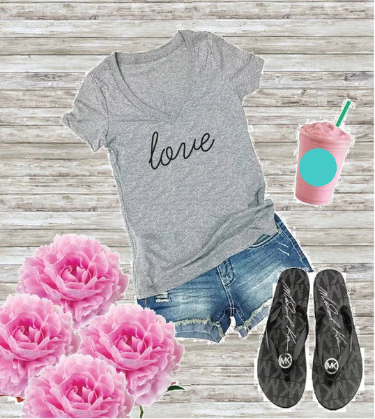Love Women's V-Neck T-shirt Love Vibes Ladies Shirt Custom Personalized Fitted Tee