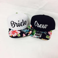 Bride and Crew Snapbacks Hawaiian Floral Print Snapback Bachlorette Party Hats Wedding Party Hats