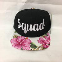 Bride and Squad Snapbacks Hawaiian Floral Print Snapbacks Bachlorette Party Hats Wedding Party Hats Bridal Party Hats