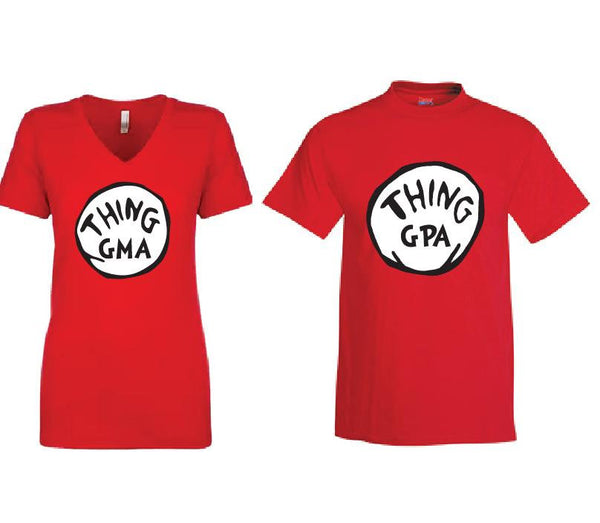 Thing GMA and thing GPA Custom Couples Graphic Tee T-shirt for Halloween  Funny Shirts for Grandma and Grandpa