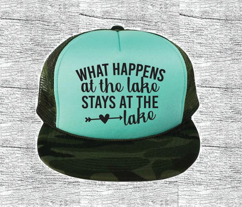 What happens at the Lake Stays at the Lake Camo Trucker Hats Mesh Back Hat Snapback Party Hats Girls Weekend, Guys Weekend, River Trip