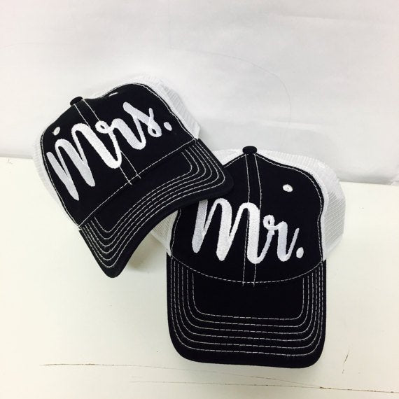 Mr. and Mrs. Trucker Hats Custom Print Trucker Hats Couple Hats Black and White Mesh Back Hats Newlywed Hats Honeymoon with White Contrast