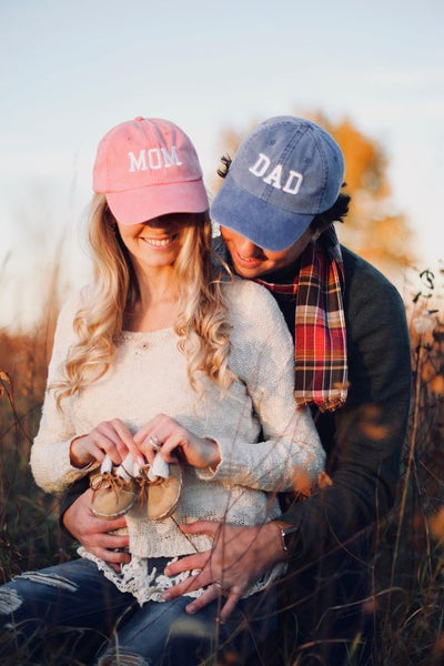 Mom & Dad Unstructured Dad Hat Gift or Baby Announcement Coral Royal and White or Your Color Choice