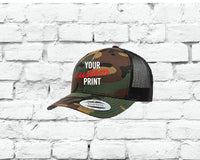 Camo Retro Trucker Custom Embroidery Your Custom Print Mesh Back Trucker Hat