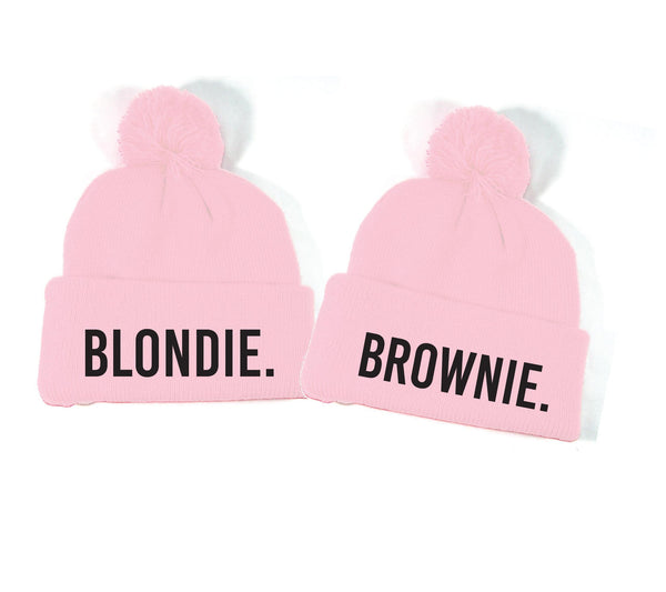 Blondie and Brownie Blonde and Brunette Best Friend Pom Pom Beanies Knit Hats Couples Hats Funny Hats