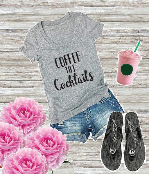 Coffee Till Cocktails Women's V-Neck T-shirt Coffee Graphic Tee Fun Custom Shirt Drinking Personalized Fitted Tee
