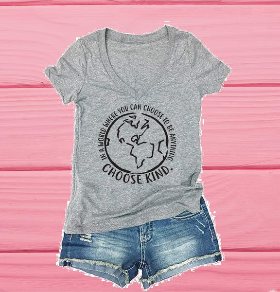 Choose Kind Women's V-Neck T-shirt Funny Tee Custom Shirt Custom Personalized Fitted Graphic Tee
