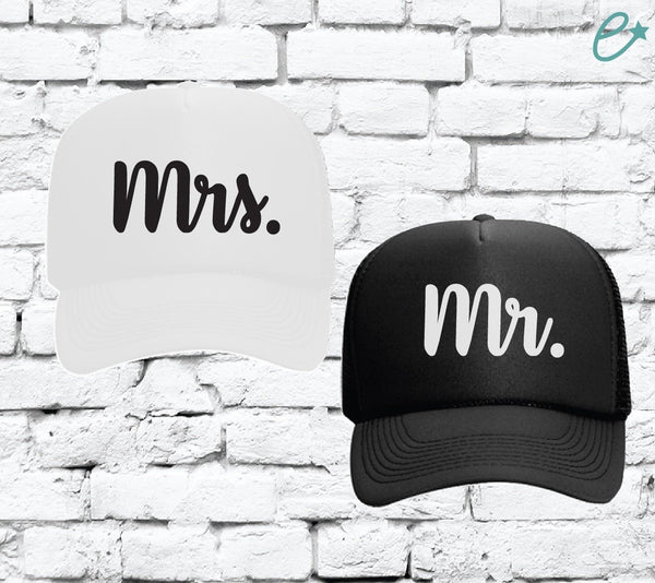 Mr. and Mrs. Trucker Hats Couples Hats Mesh Back Hats with Snapback