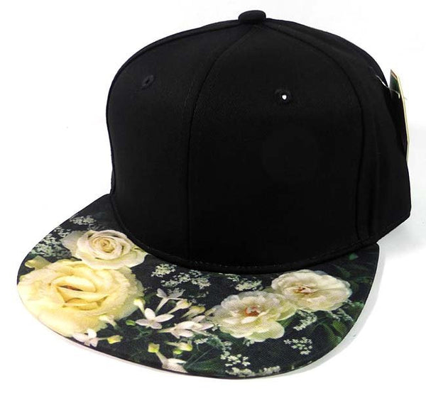 Custom Embroidery Floral Snapback White Rose Flower Brim Floral Hat Black Cap with Multicolor Brim Peonies and Babys Breath Flowers