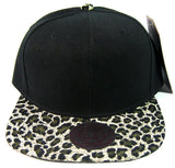 Custom Embroidery Leopard Hat Snapback Cheetah Brim Solid Sueded Brush Cap Black Hat Personalized Lid