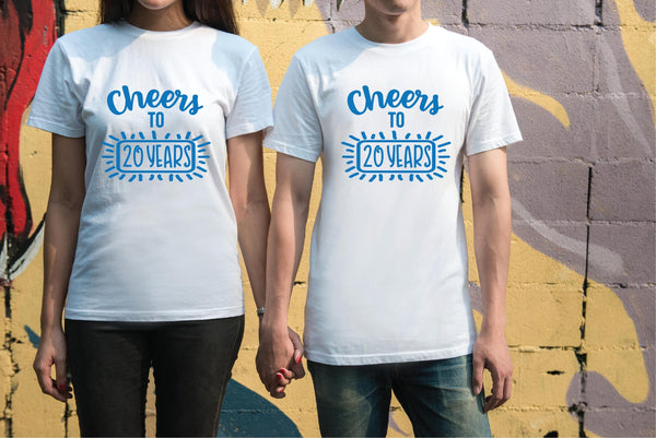 Cheers to 20 Years Tees Couples Anniversary Graphic Tee Your Custom Year Unisex T-shirt Gift for Golden Anniversary First Anniversary