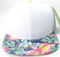 Custom Embroidery White Floral Snapback Print Brim Hawaiian Hibiscus Hat Adjustable Custom Cap Flower Allover