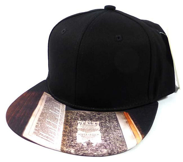 Custom Embroidery Black Snapback Bible New Testament Religious Christian Print Hat Adjustable Custom Cap Allover
