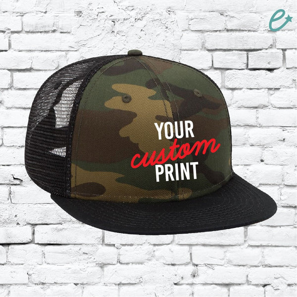 Custom Embroidery Camo Trucker Hat Hunting Snapback Camoflauge Brim Solid Camo Hat with Mesh Back Snapback Green Army Cap
