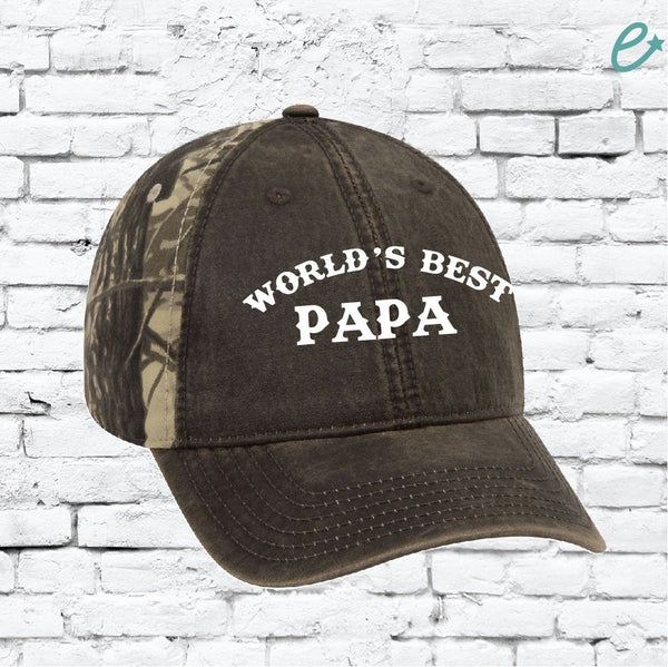 World's Best GPA Custom Embroidery Camo Grandpa Snapback Mossy Camoflauge Hunting Brim Hat Cap Green Camo Hat Oak Leaves Papa Parents Dad
