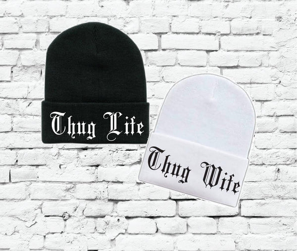 Thug Life and Thug Wife Beanies Couples Knit Hats Wedding Gift Bride and Groom
