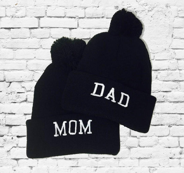 Mom & Dad Knit Hats Gift or Baby Announcement Pom Pom Beanies Knit Hats Couples Hats Funny Hats