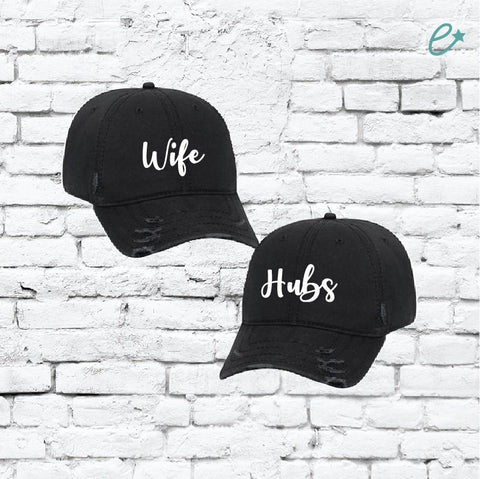 d7d1cd7b285 Custom Embroidery Ripped Adult Distressed Dad Wife Hubs Couples Hat 6 Panel  Low Profile Twill Superior
