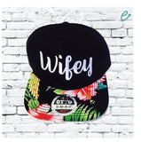 Wifey Hat Custom Embroidery Hawaiian Brim Black Snapback Adjustable Wife Gift Floral Snapback Black Cap Wedding Anniversary