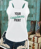 Custom Print Women's Racerback Gathered Back Tank Custom Tank Top Custom Personalized Fitted Tank
