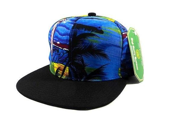 Custom Embroidery Black Brim Floral Beach Blue Snapback Print Aloha Hawaiian Hat Adjustable Custom Tropical Waves Cap Flower Allover