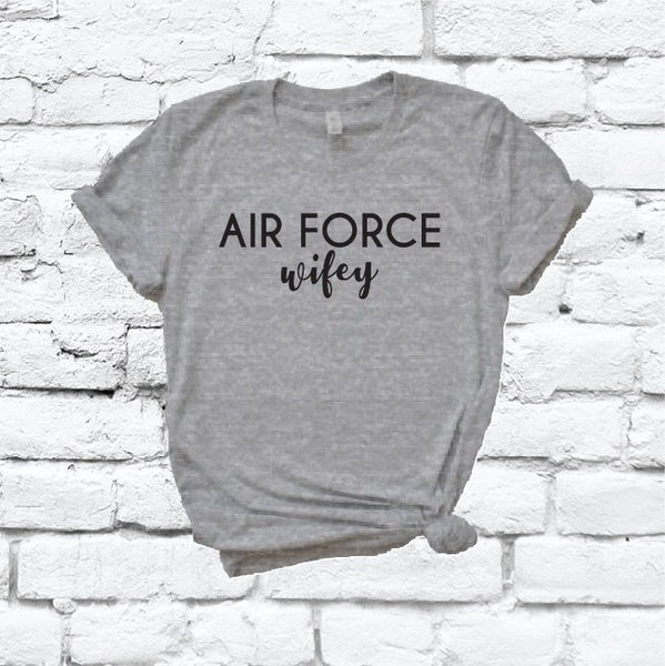 Air Force Wifey Print Women's V-Neck T-shirt Saint Military Support Shirt Custom Colors Fitted Tee Family Wife USA Service